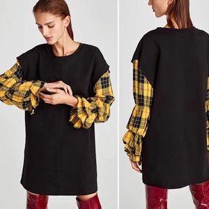 Zara Cotton knit dress w/plaid tiered sleeves-NWT